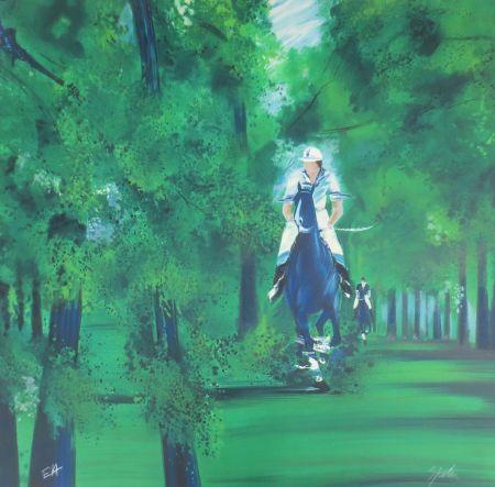 Lithograph Spahn - Cavaliers dans la forêt