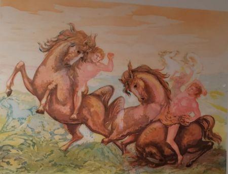 Lithograph Sassu - Cavalli e cavalieri