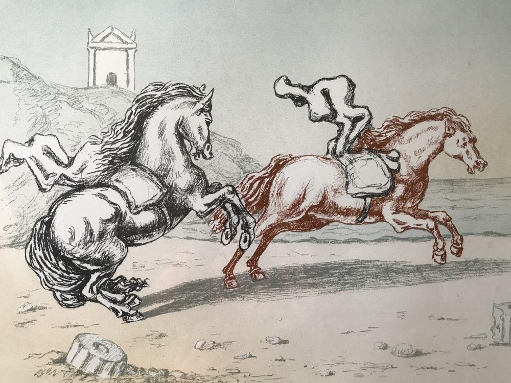 Lithograph De Chirico - Cavalli in riva all'Egeo