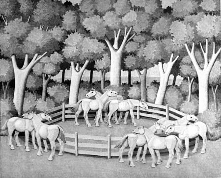 Woodcut Morena - Cavalli nel bosco