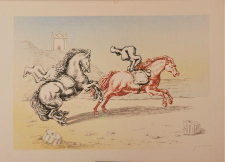 Lithograph De Chirico - Cavalli sulla riva dell'Egeo