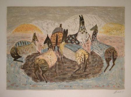 Lithograph Music - Cavallini Che Giacano / Spielende Pferde