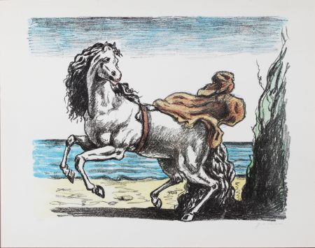 Lithograph De Chirico - Cavallo con manto