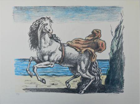Lithograph De Chirico - Cavallo con manto (seconda versione)