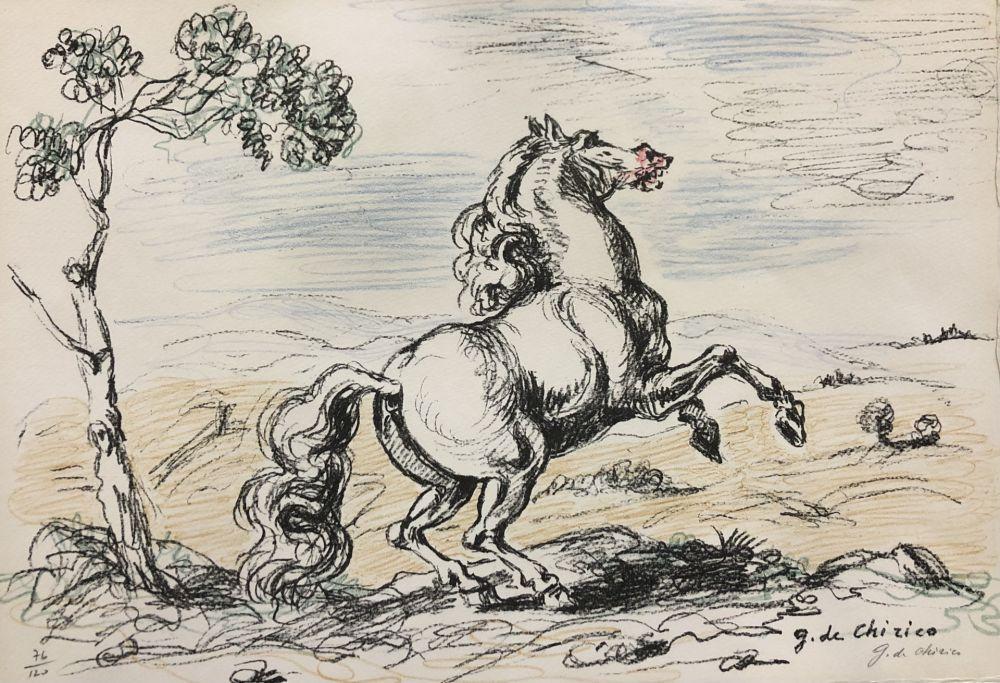 Lithograph De Chirico - Cavallo in libertà