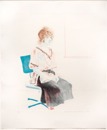 Etching And Aquatint Hockney - Celia Seated on an Office Chair