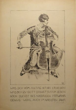 Lithograph Amiet - Cello-Spielerin