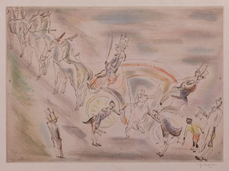 Etching And Aquatint Pascin - Cendrillon (Cinderella, alighting from the carriage)