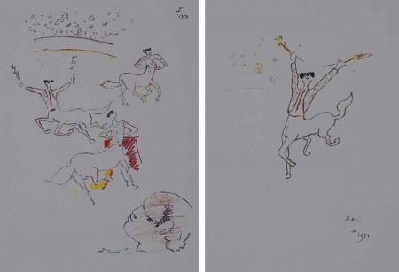 Lithograph Cocteau - Centauros taurinos