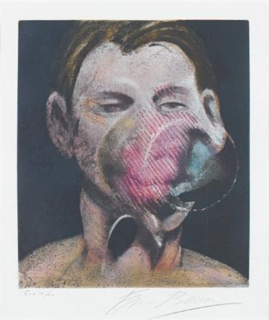 Etching And Aquatint Bacon - Central panel  from 3 studies for a portrait of Peter Beard I