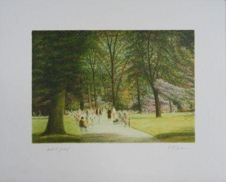 Lithograph Altman - Central Park - Terrace Drive