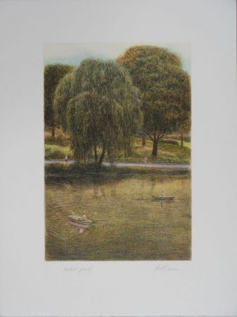 Lithograph Altman - Central Park - The Boats
