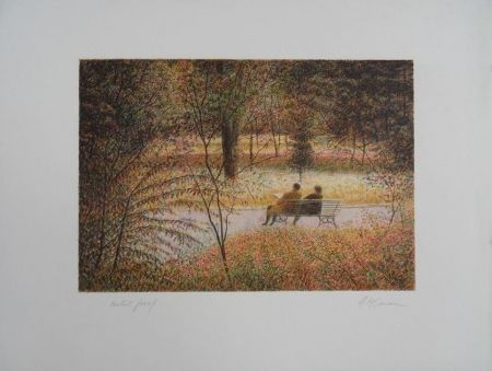 Lithograph Altman - Central Park - The Fall