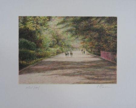 Lithograph Altman - Central Park - The horses