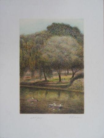 Lithograph Altman - Central Park - The Lake
