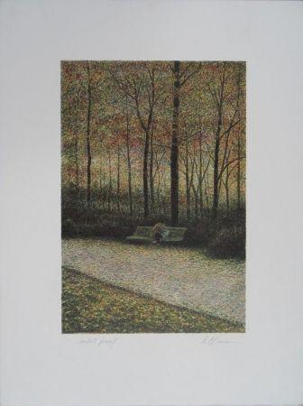 Lithograph Altman - Central Park - The Lovers
