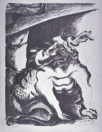 Lithograph Zadkine - Cerbere