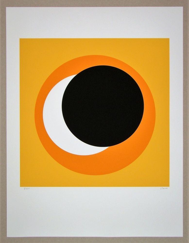 Screenprint Claisse - Cercle noir sur fond orange