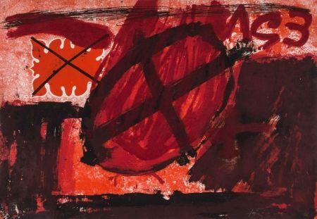 Etching And Aquatint Tàpies - Cercle Rouge (G.596)