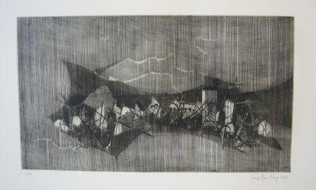 Etching Berge - Cerf volant