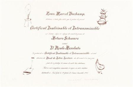 Lithograph Duchamp - Certificat de Lecture