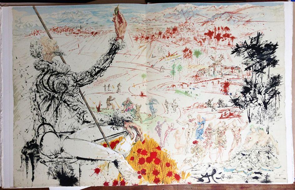Illustrated Book Dali - Cervantès : DON QUICHOTTE DE LA MANCHE (12 lithographies originales).