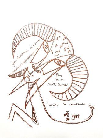 Lithograph Cocteau - Chèvre Immortelle