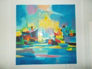 Lithograph Mouly - Chalutiers au port