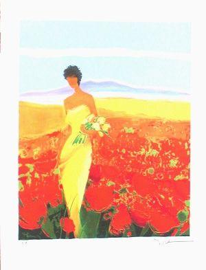 Lithograph Bellet - Champ de fleurs