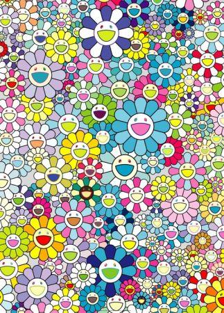 Lithograph Murakami - Champagne supernova blue