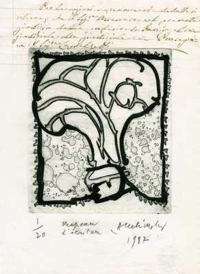 Etching Alechinsky - Chapeau D'écriture