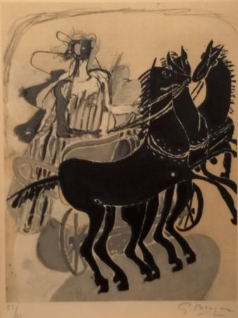 Lithograph Braque - CHAR AUX CHEVAUX NOIR