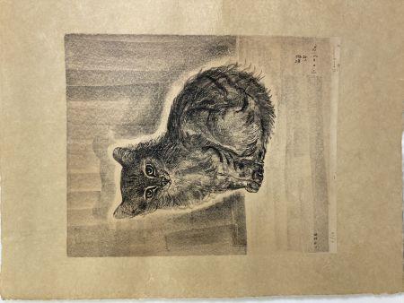 Lithograph Foujita - Chat assis, 1926
