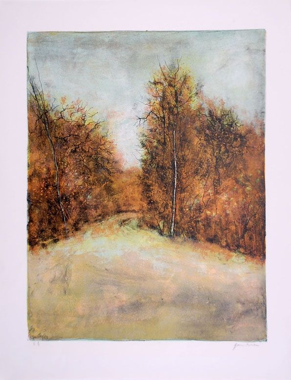 Lithograph Gantner - Chemin en forêt - Forest path