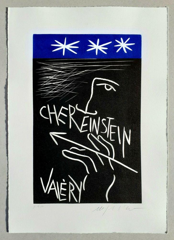 Linocut Paladino - Cher monsieur Einstein