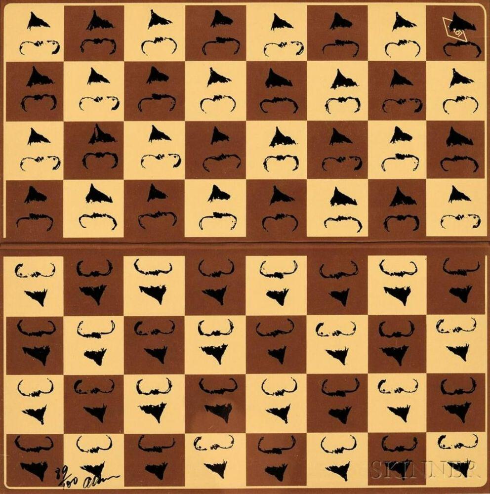 Screenprint Arman - Chessboard in Hommage to Marcel Duchamp's L.H.O.O.Q.