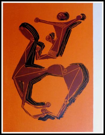Lithograph Marini - CHEVAL & CAVALIER SUR FOND ORANGE