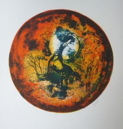 Lithograph Lebadang - Cheval clair lune