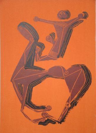 Lithograph Marini - Cheval et cavalier sur fond orange