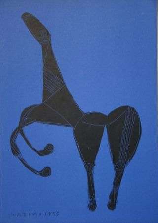 Lithograph Marini - Cheval sur fond bleue
