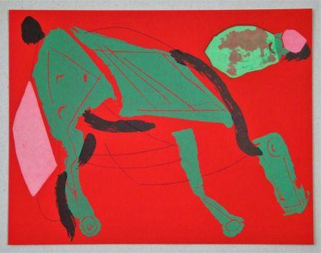 Lithograph Marini - Cheval sur fond rouge