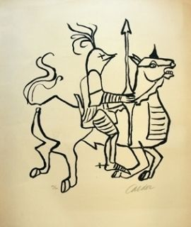 Lithograph Calder - Chevalier