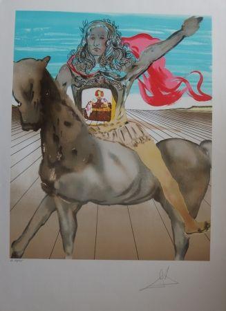 Lithograph Dali - Chevalier surréaliste - Hommage à Velasquez