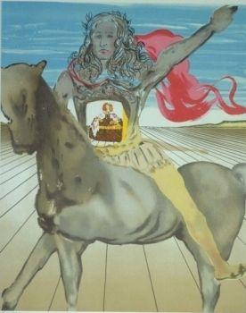 Lithograph Dali - Chevalier surréaliste (Hommage à Velasquez)
