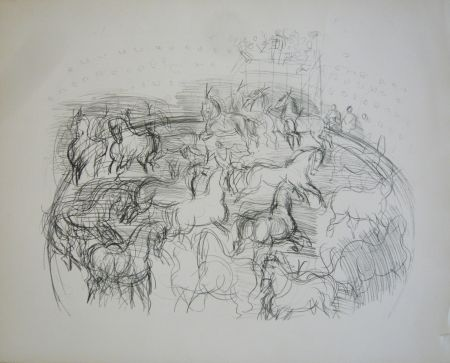 Lithograph Dufy - Chevaux