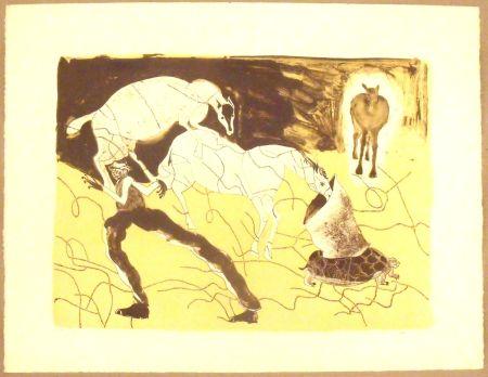 Lithograph Toledo - Chevaux