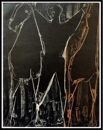 Lithograph Marini - CHEVAUX ET CAVALIER