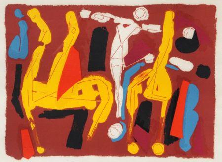 Lithograph Marini -  Chevaux et cavalier V, 1974