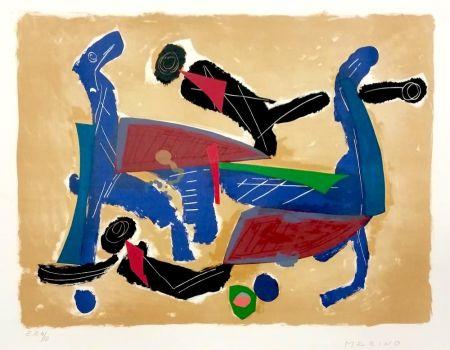 Lithograph Marini - Chevaux et cavaliers