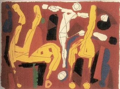 Lithograph Marini - Chevaux et Cavaliers V